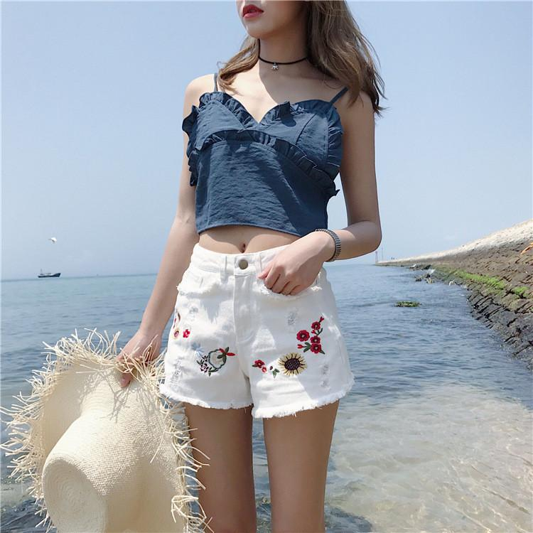 High Waist Embroidered Denim Shorts
