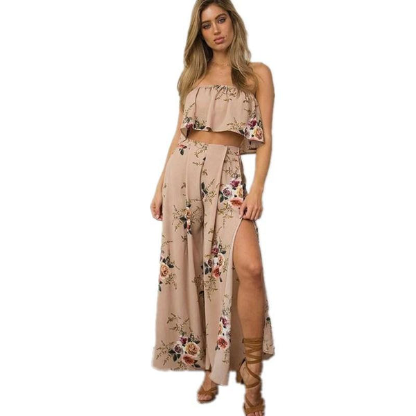 Women'S Sleeveless Printing High Waist Two-Piece Dress