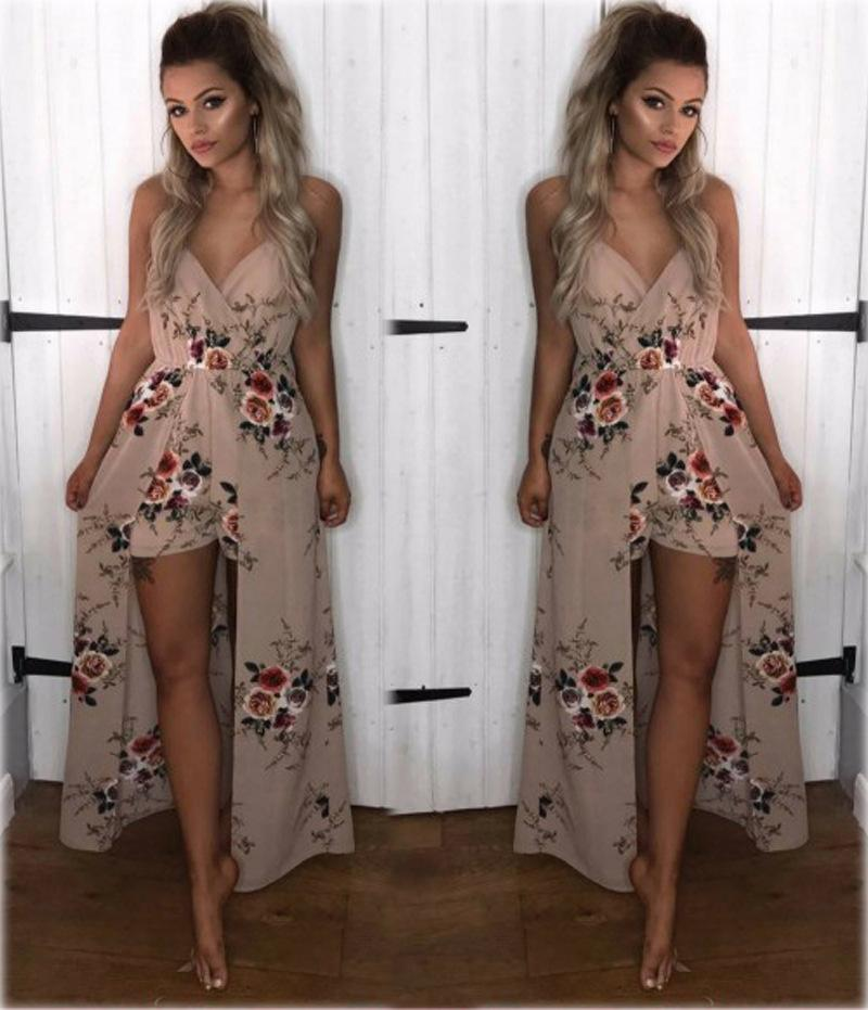 2018 Fashion Sexy Printing Rompers Dress