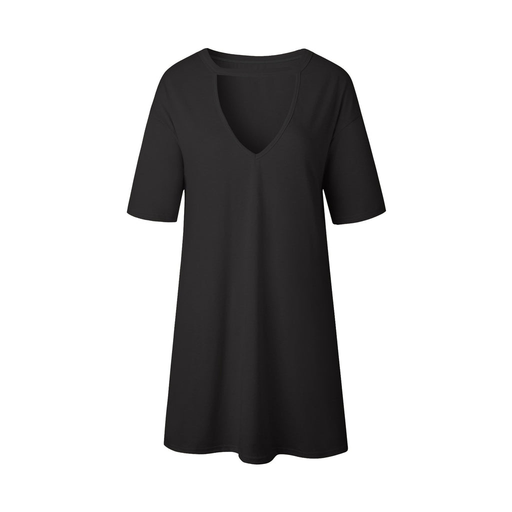 Sexy V-neck T-shirts Slim One Piece Dress