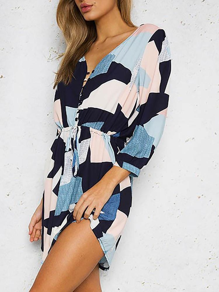 Sexy V-Neck Printing Long-Sleeved Dress