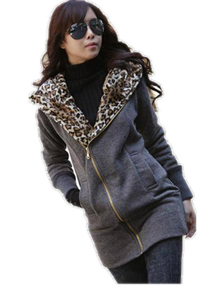 Casual Leopard Long-Sleeved Hooded Sweater Cardigan Jacket