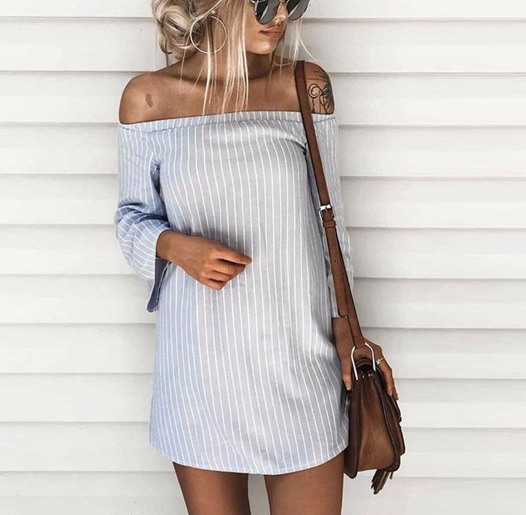 Fashion Casual Sexy Back Hollow Off Shoulder Long Sleeve Stripe Mini Dress