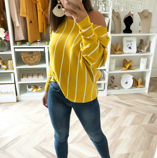 Long Sleeve Sexy Striped Print Top