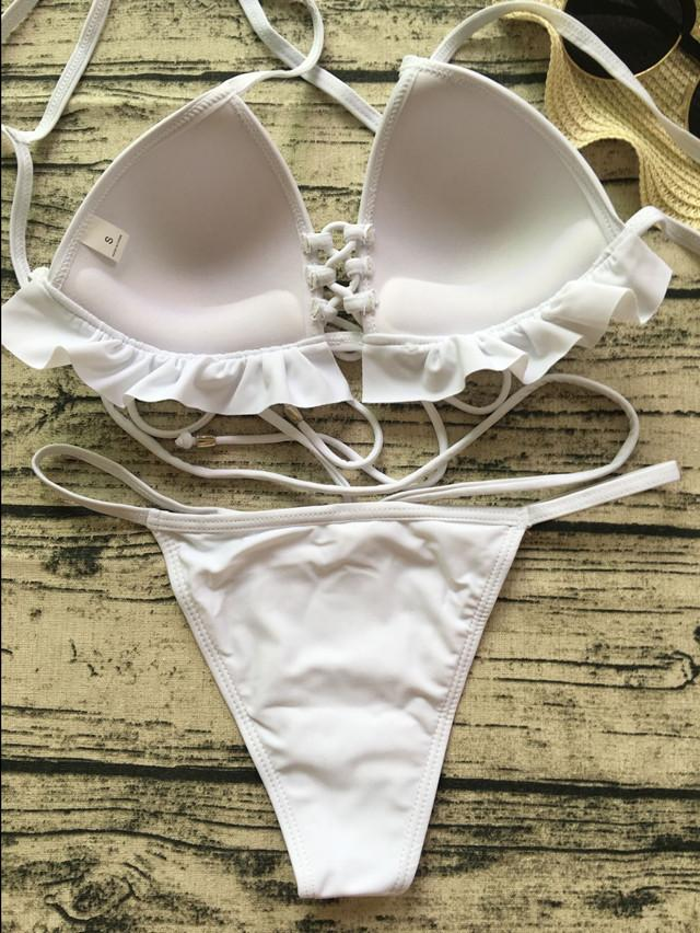 Frilled Molded Cup Thong Bikini Set