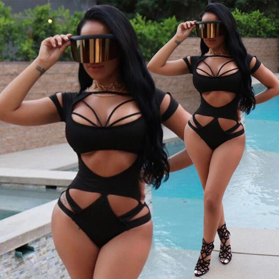 2018 Fashion Sexy Solid Color Short-Sleeved Bikini Swimsuit