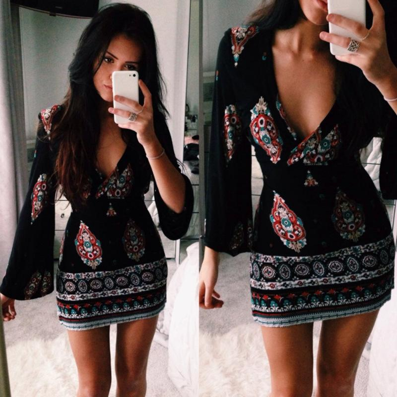Fashion V-Neck Long-Sleeved Printed Dress