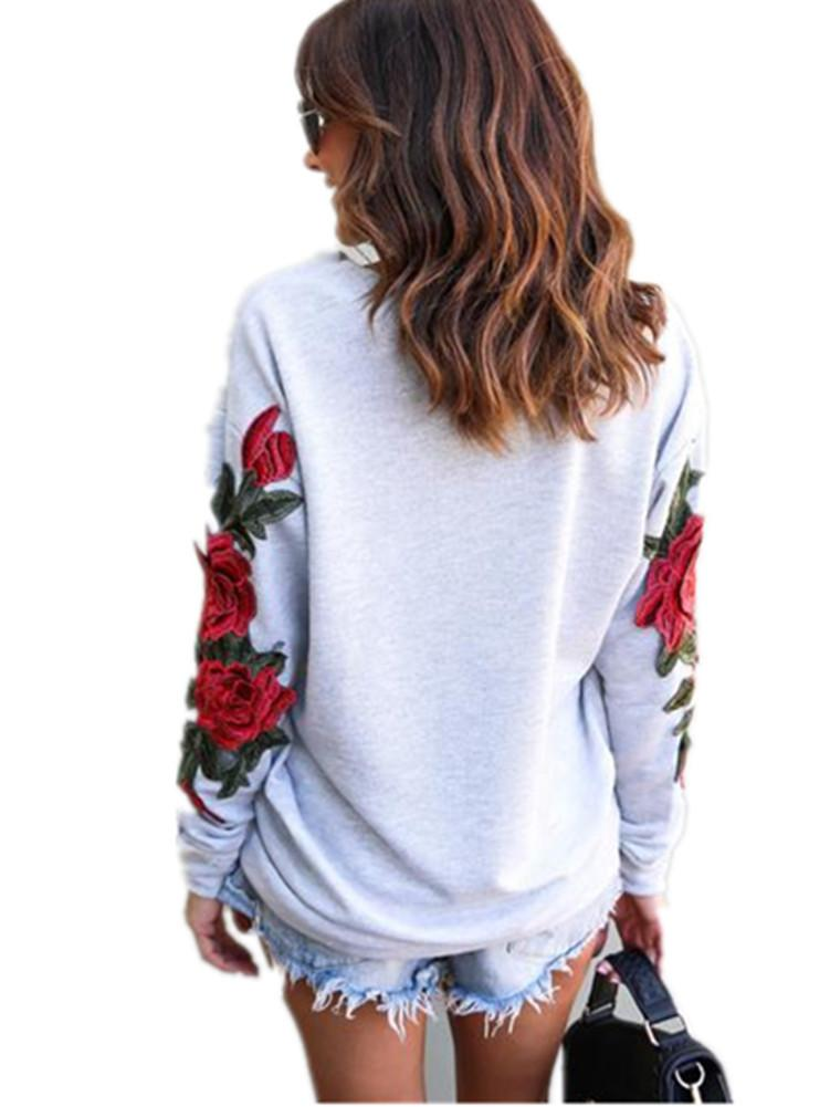 Long Sleeve Rose Embroidered Sweatshirt