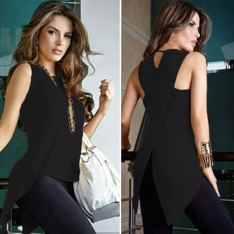 2018 Fashion Round Neck Sleeveless Irregular T-Shirt
