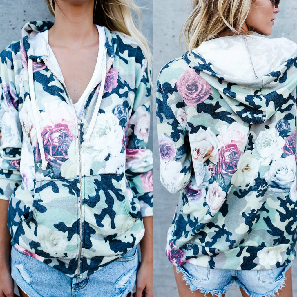 Fashion Printed Cardigan Zipper Long-Sleeved Sweater Coat