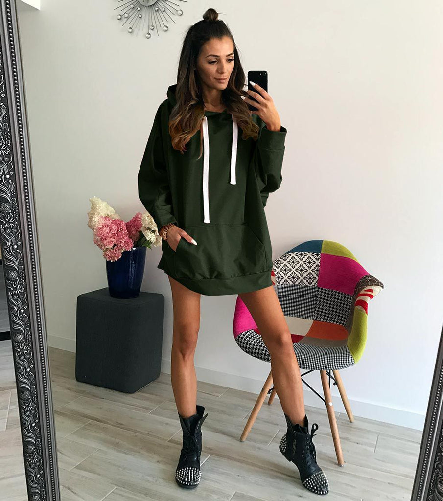 Loose Fashion Long-Sleeved Hooded Sweater