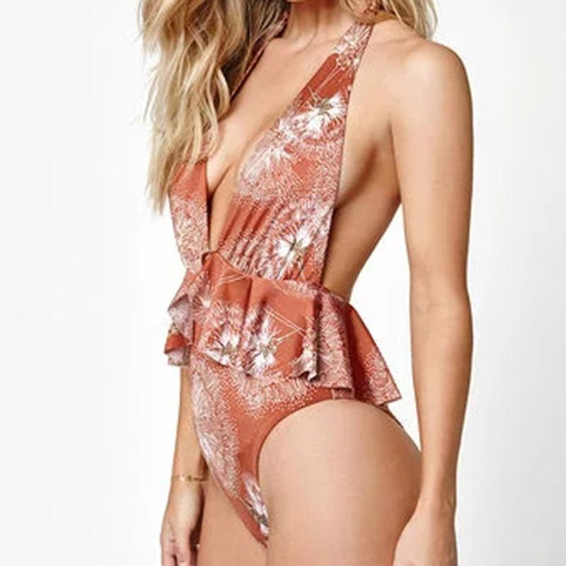 2018 Sexy V-Neck Print Swimsuit