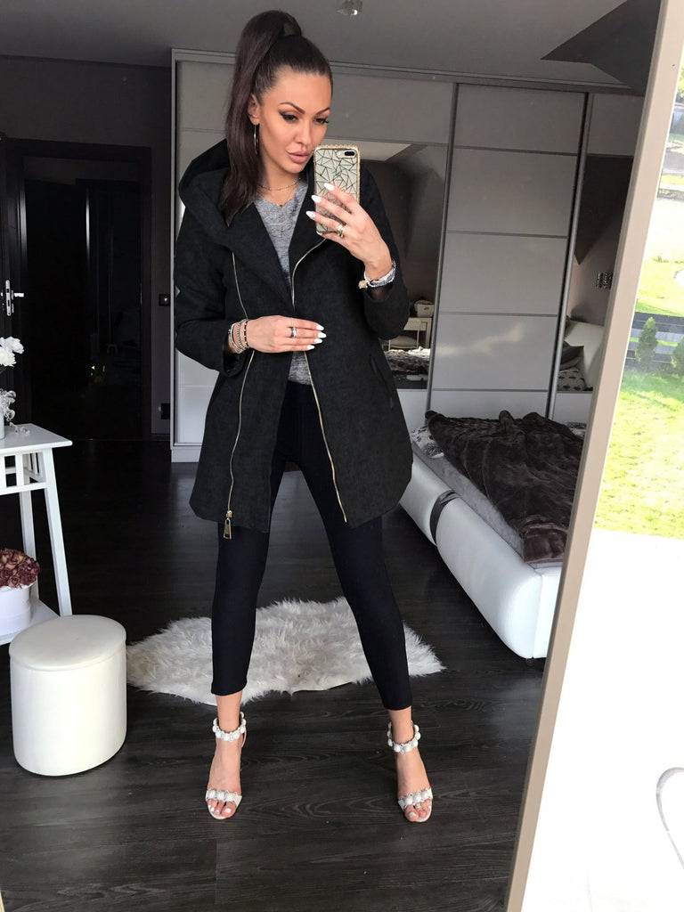Fashion Long-Sleeved Zipper Cardigan Coat