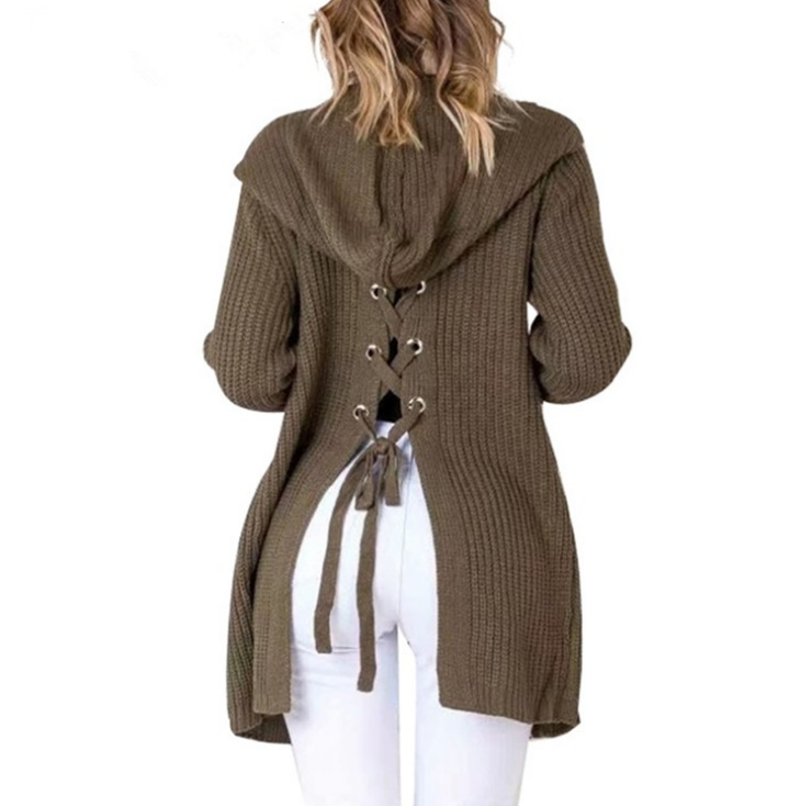 Loose Long-Sleeved Hooded Cardigan Sweater Coat