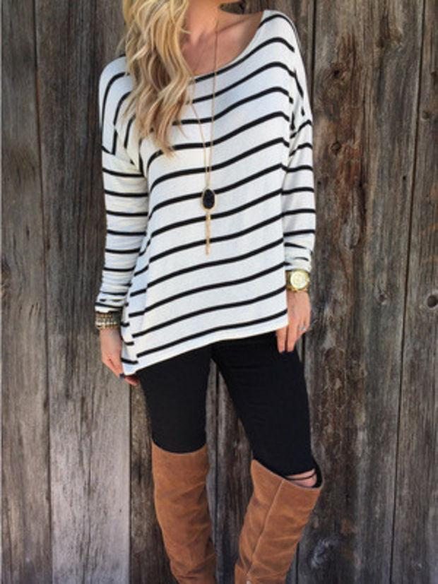 Black and White Striped Long Sleeve T-Shirt