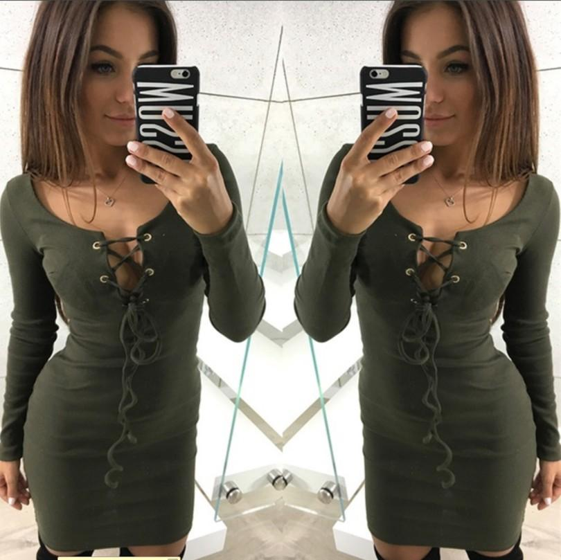 Fashion Sexy Solid Color Package Hip Long-Sleeved Dress