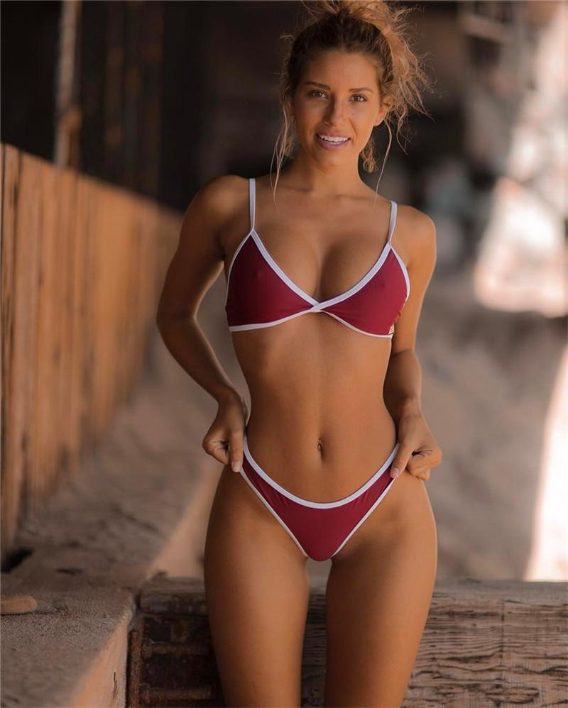 2018 Sexy Fashion Cute Solid Color Triangle Bikini Swimsuit