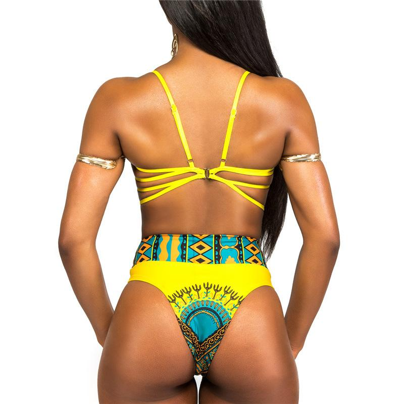 HBKN bikinis set African print bikini bandage swimwear large sizes bikini high waist crisscross bikinis high cut swimwear