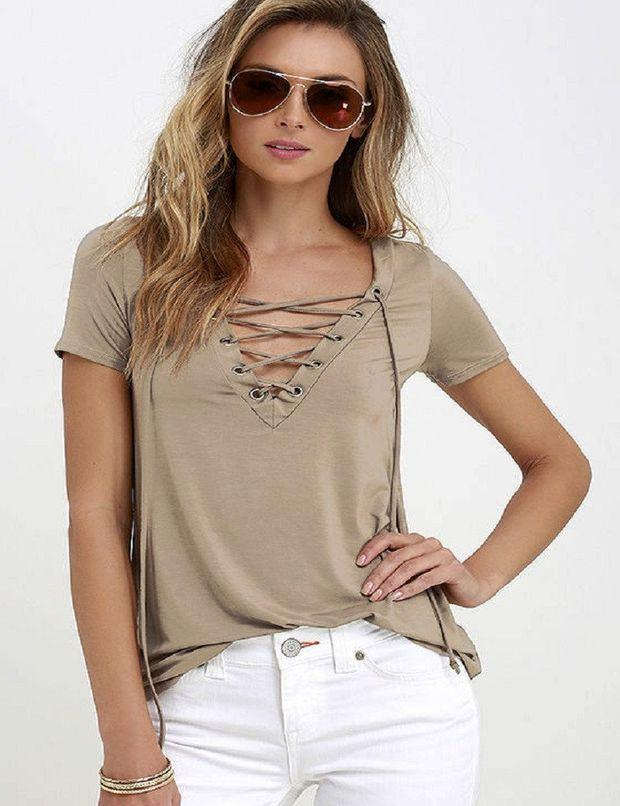 Hollow out Strappy Lace Up Tee