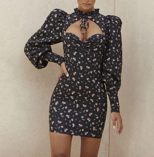 Floral High Waist Long Sleeve Hip Dress