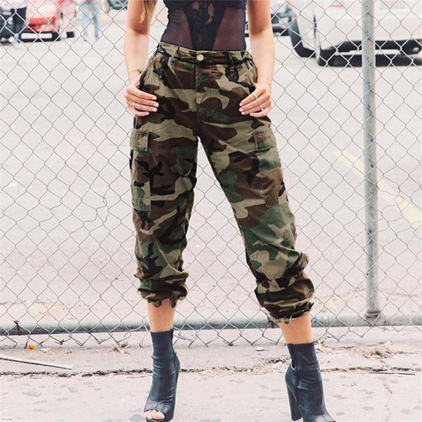 Women Loose Casual Fashion High Waist Camouflage Tooling Leisure Pants Trousers
