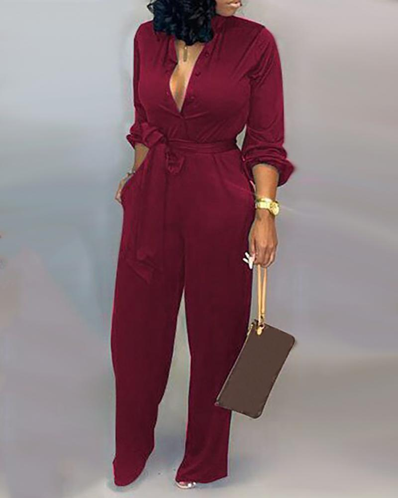 Sexy Long Sleeve Printed Jumpsuit