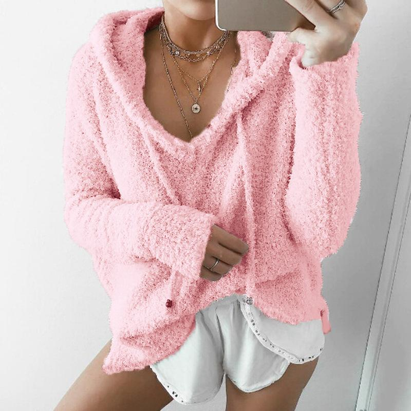 Women'S V-Neck Hooded Long-Sleeved Sweater
