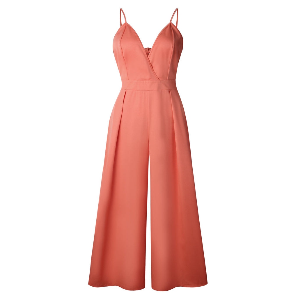 2018 Fashion Sling Sexy V-Neck Backless Bowknot Jumpsuit