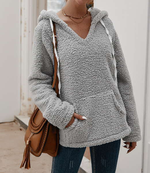 V-Neck Sexy Hooded Sweater