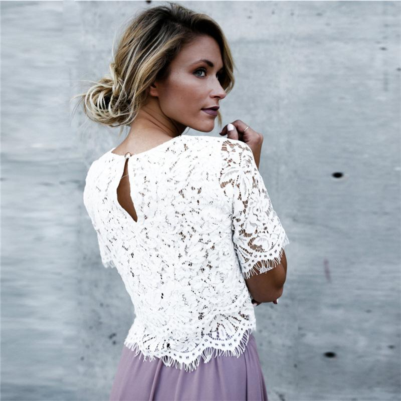 Women'S Solid Color Round Neck Lace T-Shirt