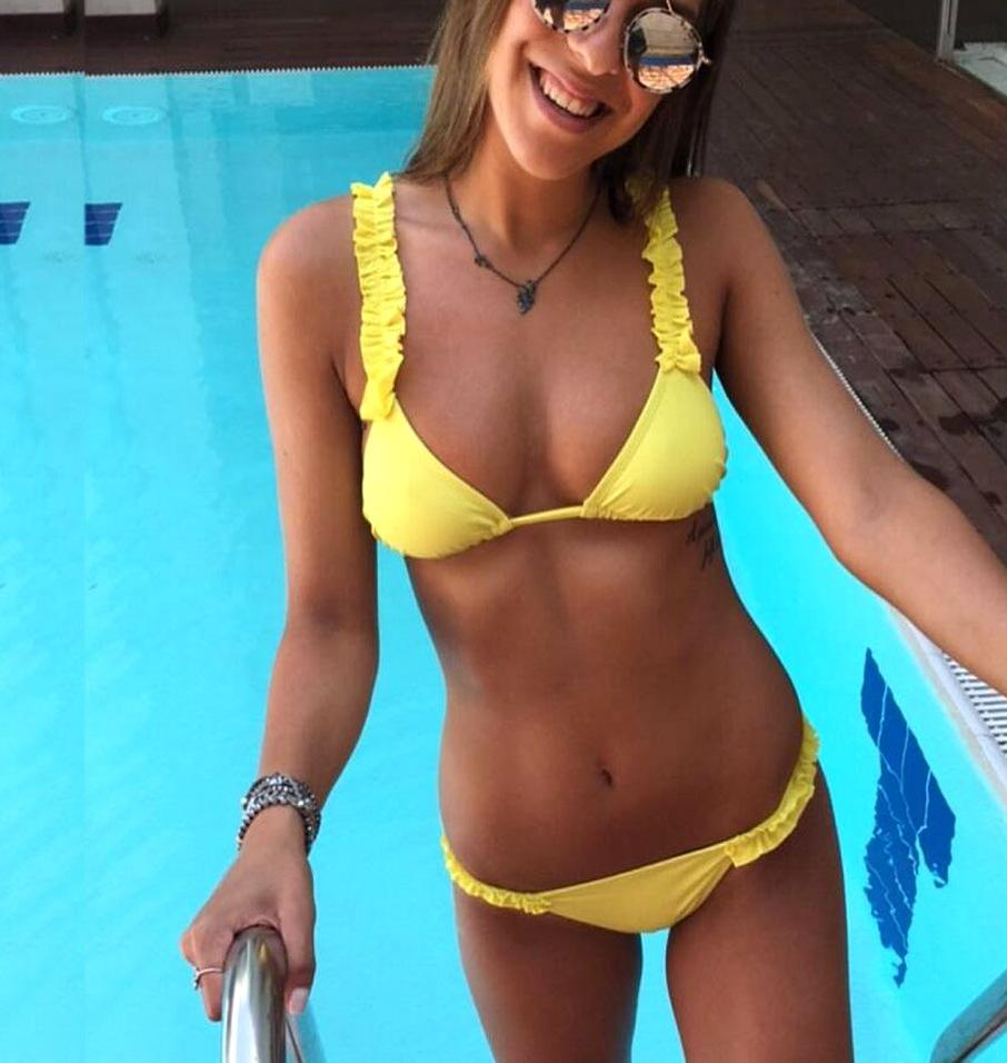 2018 Solid Color Fashion Sexy Bikini Swimsuit