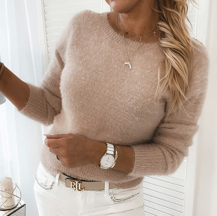 Sexy Lace Backless Round Neck Sweater