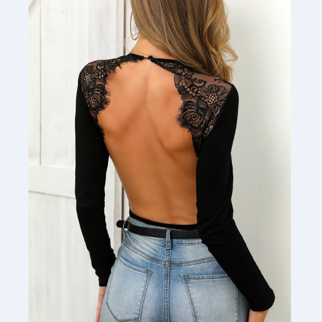 Eyelash Lace Insert Open Back Bodysuit