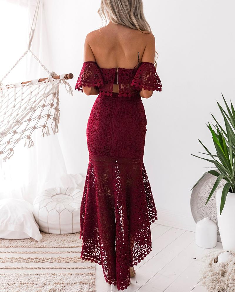 2018 Elegant Solid Color Strapless Lace Two-Piece Dress