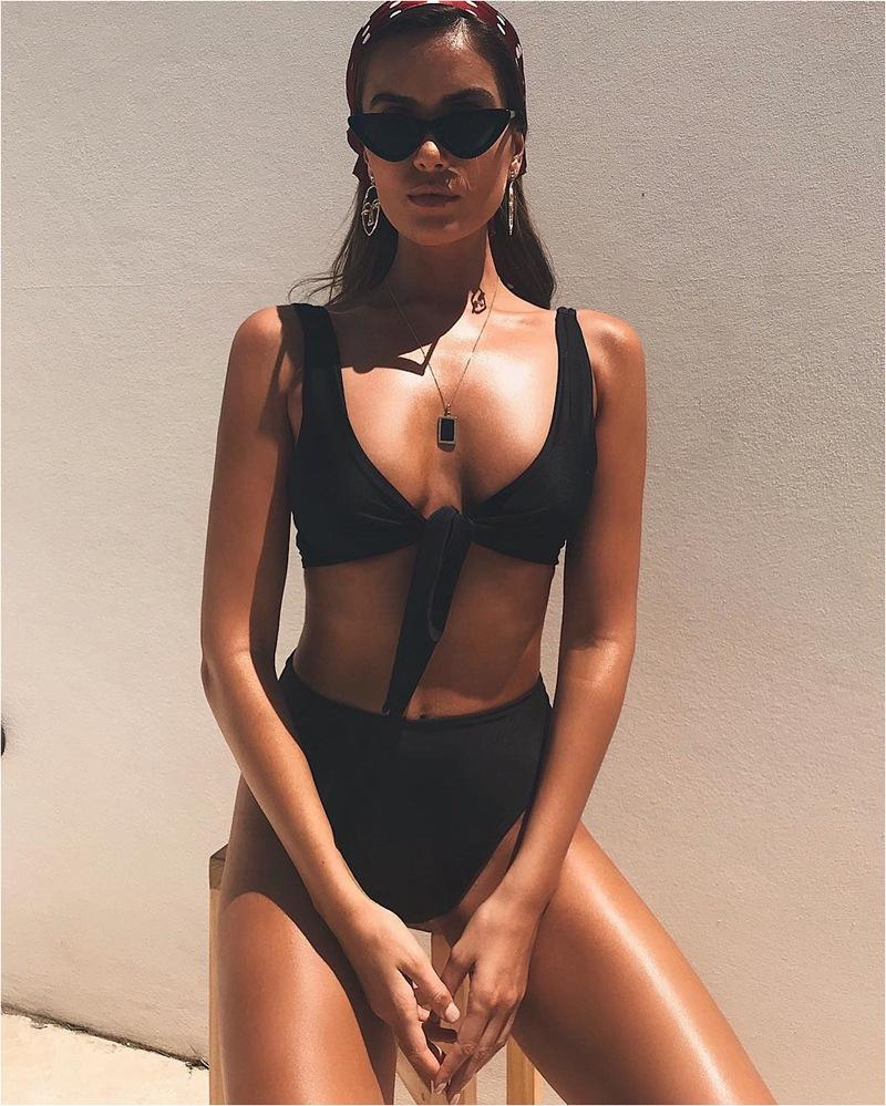 2018 Solid Color Bowknot Two-Piece Bikini Swimsuit