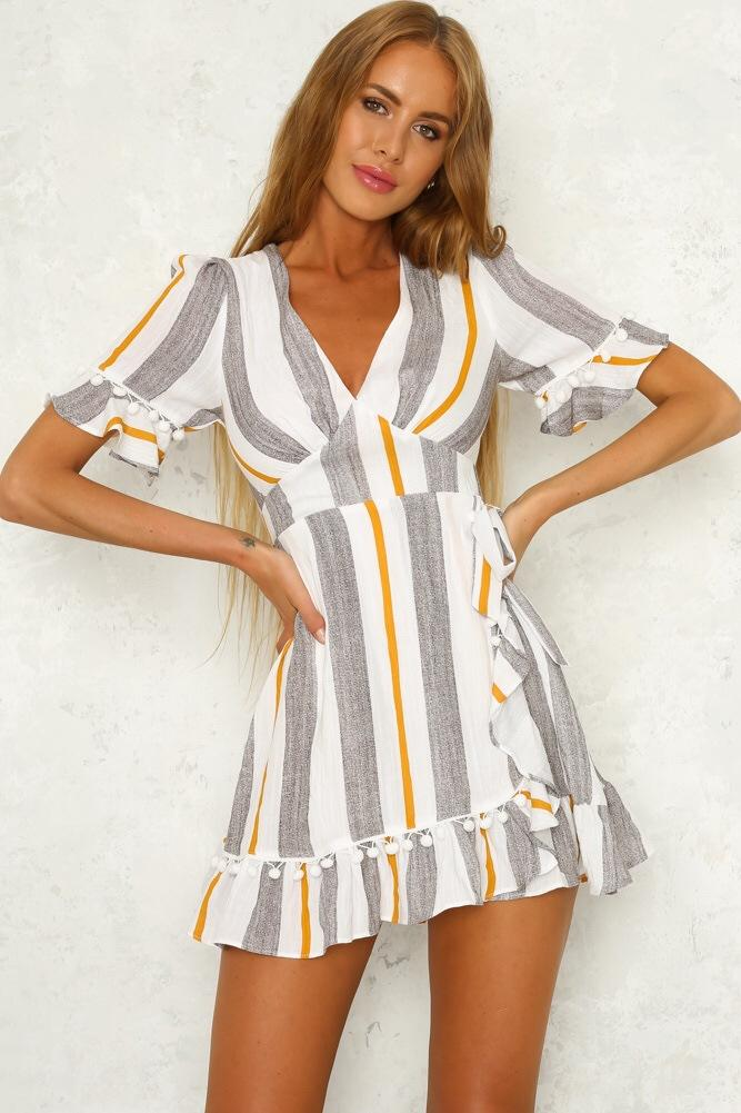 2018 Fashion V-Neck Print Splice Short Sleeve Dress