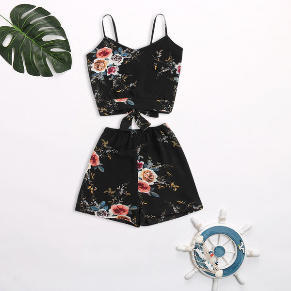 Sling Print Sleeveless Open Back Shorts Suit