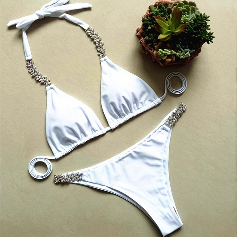 2018 Sexy White Backless Bikini Swimsuit