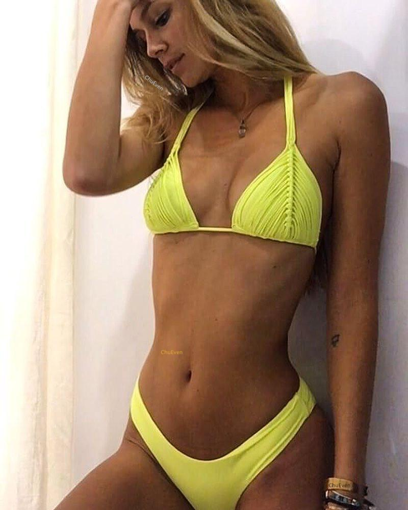 2018 Solid Color Sexy Bikini Two-Piece Swimsuit