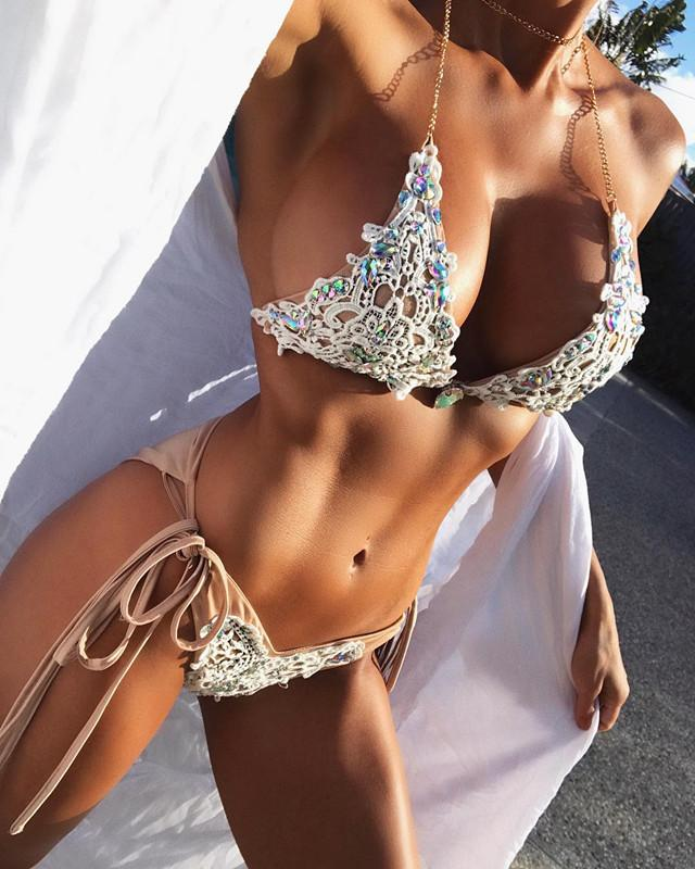 2018 Sexy Sequin Lace Bikini Swimwear