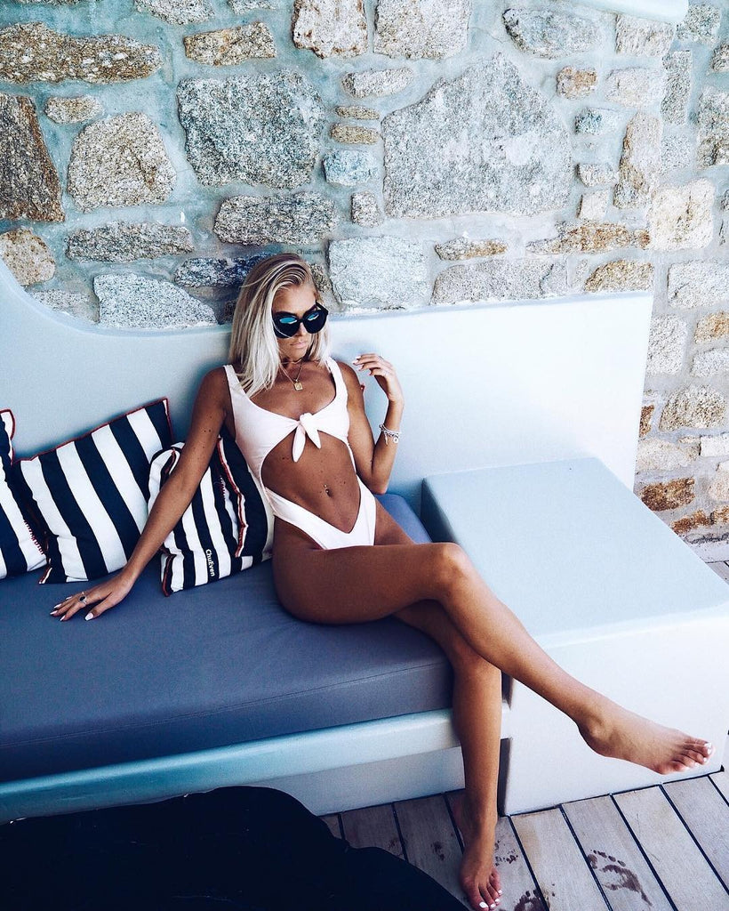 2018 Solid Color Sexy Bikini One Piece Swimwear
