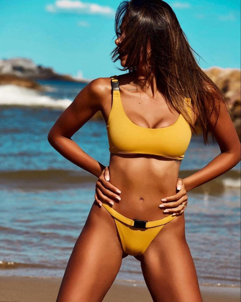 2018 Solid Color Sexy Split Bikini Swimsuit