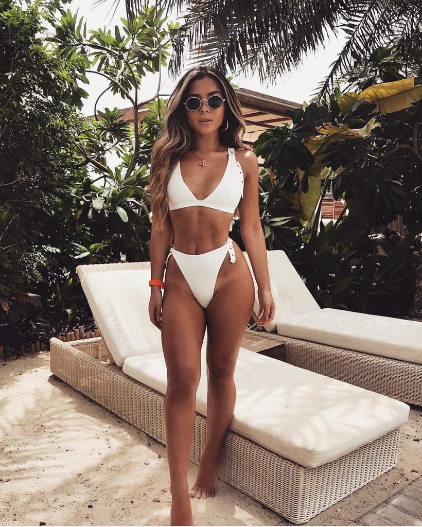 2018 Solid Color Sexy Two-Piece Bikini Swimsuit