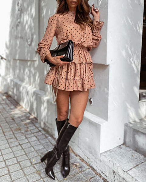 Print Women Long Sleeve Dress