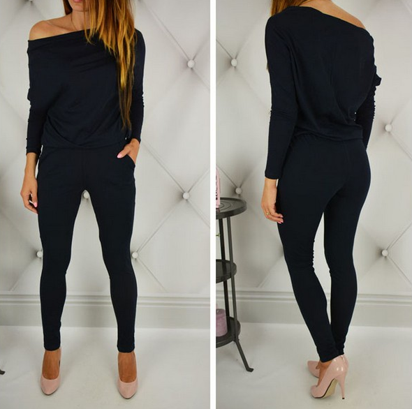 Casual Long Sleeve Off-The-Shoulder Jumpsuit