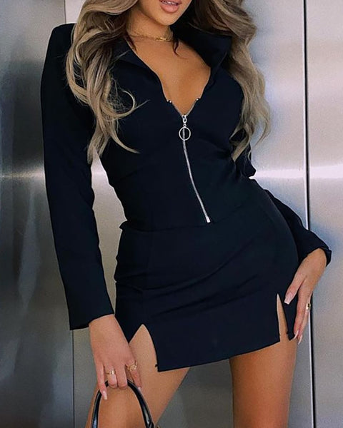 Zipper Slit Design Bodycon Dress