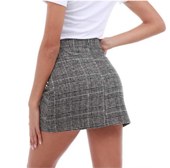 Fashion High Waist Plaid Hips Skirts