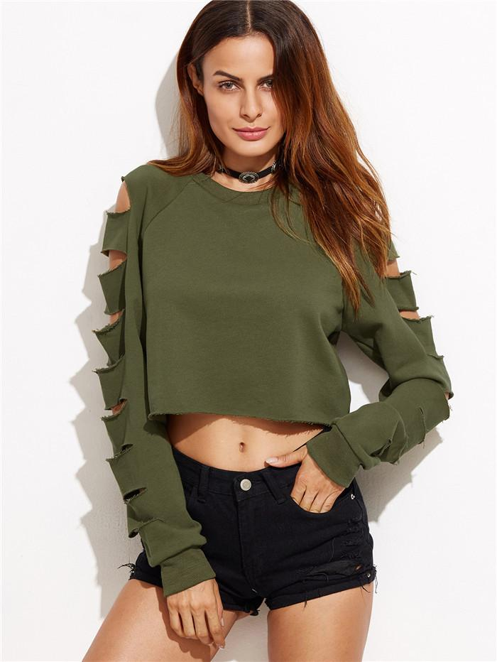 Green Round Neck Long-Sleeved Sweater