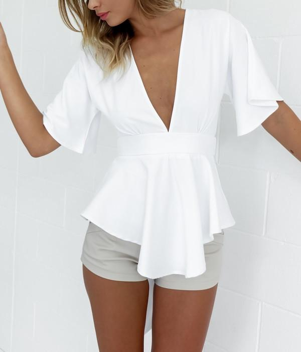 Sexy V-Neck Backless Chiffon Blouse