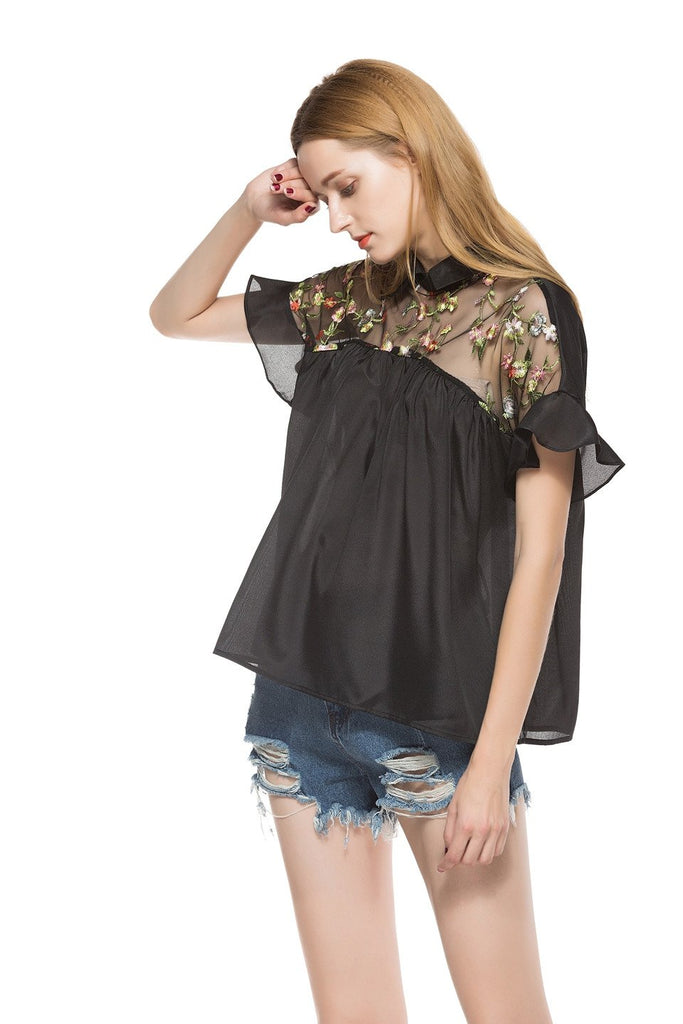 Loose Embroidery Short Sleeve Shirt